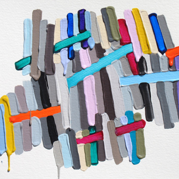 Acrylic painting on canvas by Martina Nehrling in a variety of color shades. The painting depicts lines of color in both horizontal and vertical patterns. A few lines have been painted thicker than others causing the paint to drip as it dries.