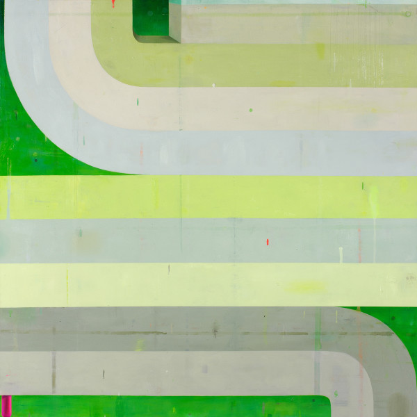 Bright vibrant abstract painting on canvas in various shades of green and gray. The painting depicts patterns of green lines going straight, upwards and downwards as they turn. The upper lanes at the top were slightly made to be more three-dimensional.