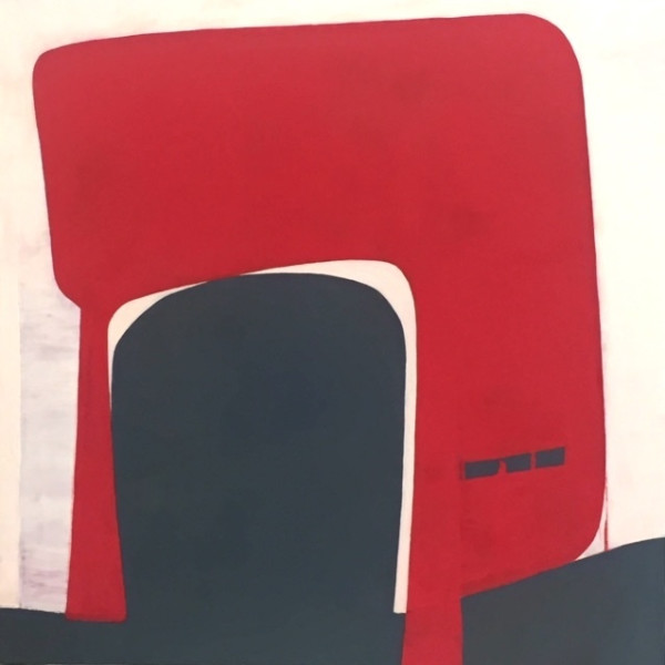 "Fran Shalom's ""Foothold"" oil painting on canvas in various shades of red, gray and purple. The painting is an abstract depiction of a foothold that is on a gray platform. From perspective, the painting is simple and modern."
