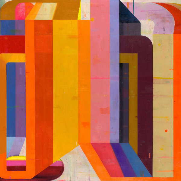 Bright, vibrant abstract painting on canvas in various shades of red, orange, yellow, purple, ochre, and pink.  The use of darker and lighter colors together creates the illusion of depth, so the left and right sides of the painting seem to recede behind