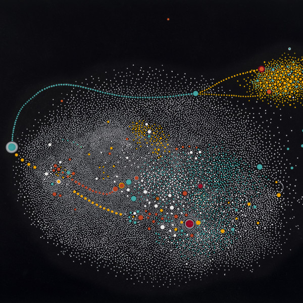 "Paula Overbay's ""Buoy"" done with acrylic on panel in shades of black, blue, red, orange, gray and white. The painting depicts a view of the solar system. The placement of all the small particles is creating an illusion of space."
