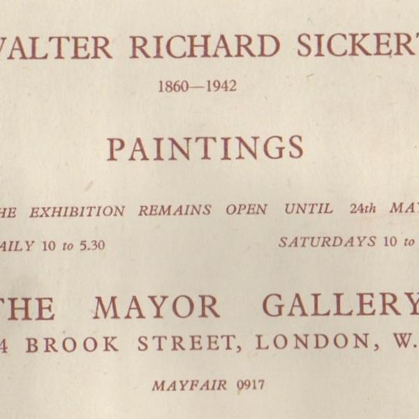 WALTER RICHARD SICKERT 1860-1942