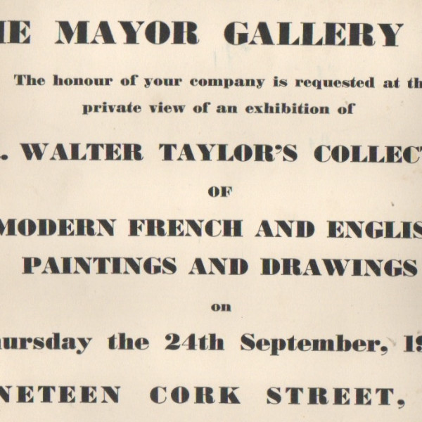 MR. WALTER TAYLOR'S COLLECTION OF MODERN FRENCH AND ENGLISH PAINTINGS AND DRAWINGS