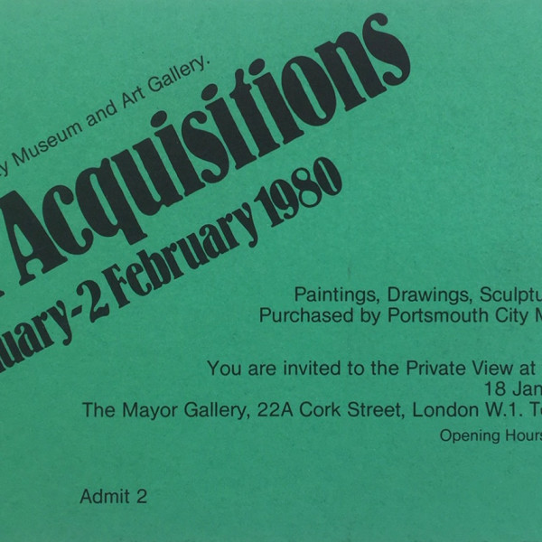 PORTSMOUTH CITY MUSEUM & ART GALLERY Recent Acquisitions