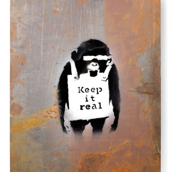 Banksy 'Keep it real' small version fetches 250.000£ at Bonhams.