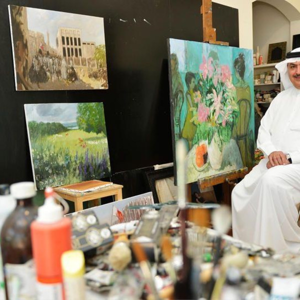 Sheikh Rashid in his art studio in Bahrain. On his easel is Together. 2016. Oil on canvas. 100 x 100cm.