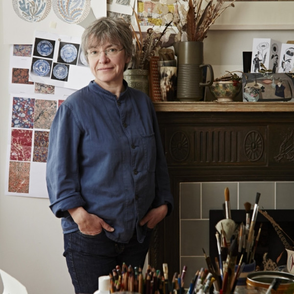 Angie Lewin in her studio