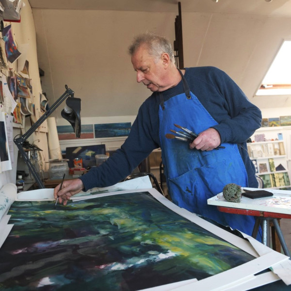 Francis Bowyer in his studio in Chiswick