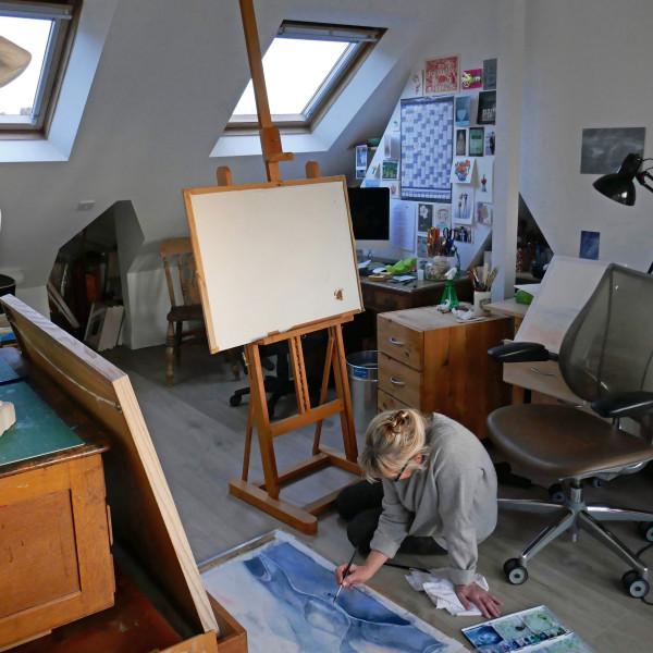 Liz Butler in her studio in Chiswick