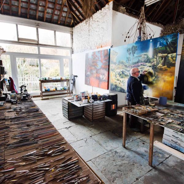 David Firmstone in his studio on the Isle of Wight
