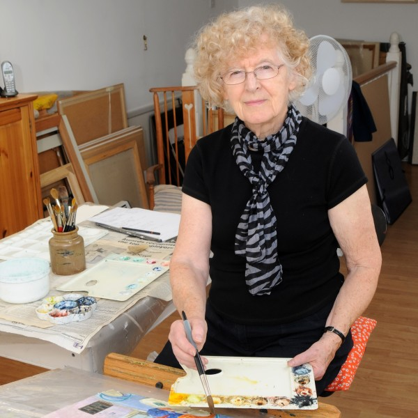 June Berry in her studio in London