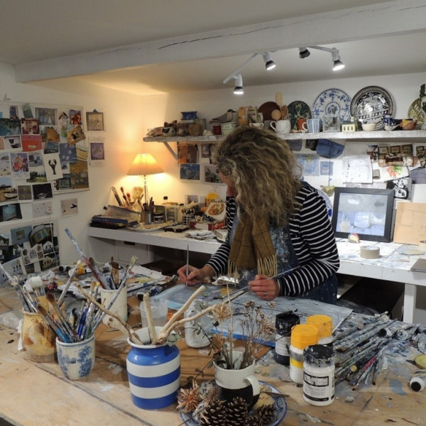 Christie Bird in her studio on the Isle of Wight