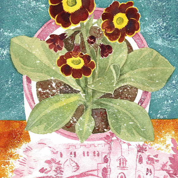Angie Lewin, Auricula 'Autumn Fire' and Lustreware Landscape