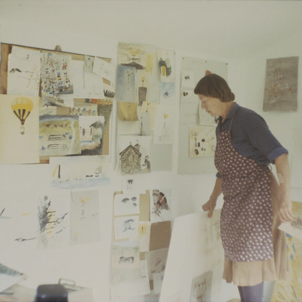 Mary Newcomb in her studio