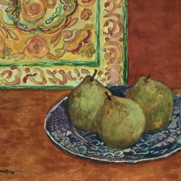 June Berry RWS, Winter Pears, watercolour