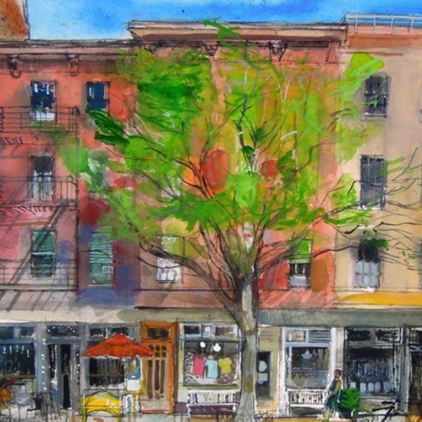 Peter Quinn RWS, 9th Avenue between 18th and 19th Streets, New York, watercolour 45x55cm
