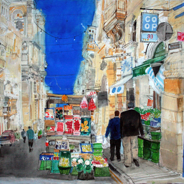 Peter Quinn RWS, Valletta Fruit and Vegetable, watercolour