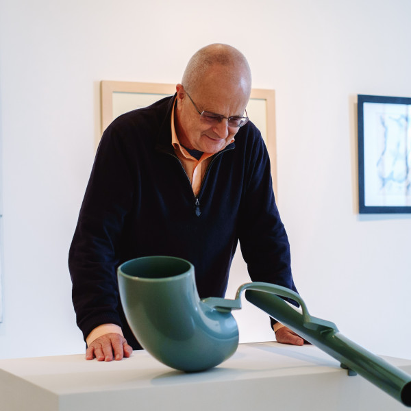 Tim Sayer views work in his exhibition The Collector Curates at The Hepworth Wakefield in 2017. Photo Jenny Briggs.