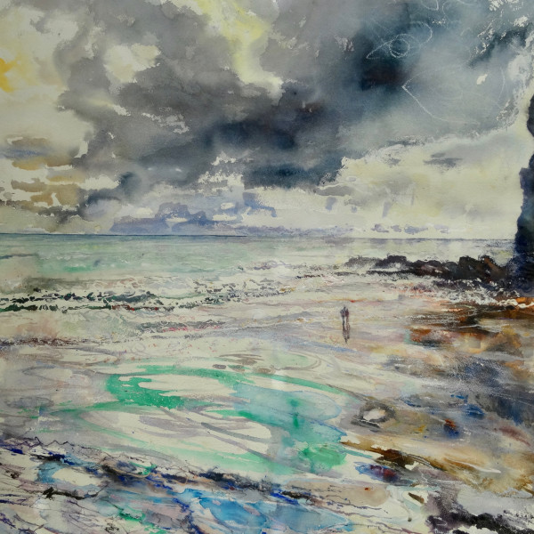Sophie Knight RWS, Lone Couple look out to sea, Crackington Haven, Cornwall