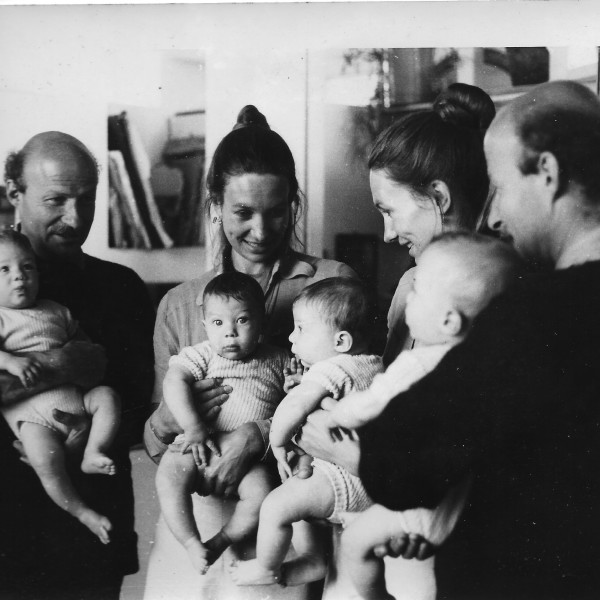 From page 133, Paul and Catharine Feiler with their twin sons Hugo and Adam, at home in Chapel Kerris, near Penzance, 1974. Photograph by Andrew Lanyon