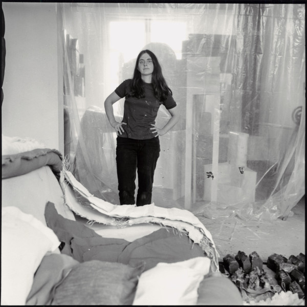 From Cover and page 177. Phyllida Barlow in her studio in Finsbury Park, 1977.  Photograph by John Malcolm Couzins.