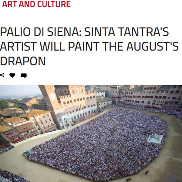 Palio di Siena: L'artista Sinta Tantra dipingera il drappellone di agosto