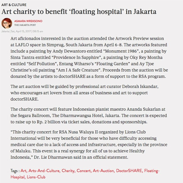 Art Charity to benefit 'floating hospital' in Jakarta
