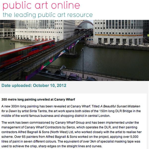 300 metre long painting unveiled at Canary Wharf