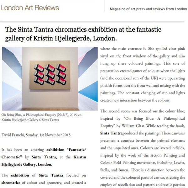 Sinta Tantra chromatics exhibition at the fantastic gallery of Kristin Hjellegjerde, London