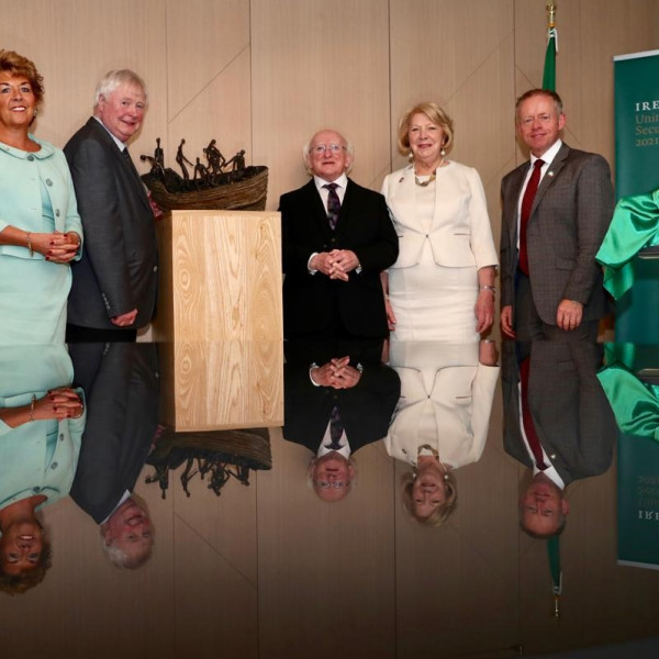 JOHN BEHAN RHA: NEW WORK UNVEILED BY PRESIDENT HIGGINS