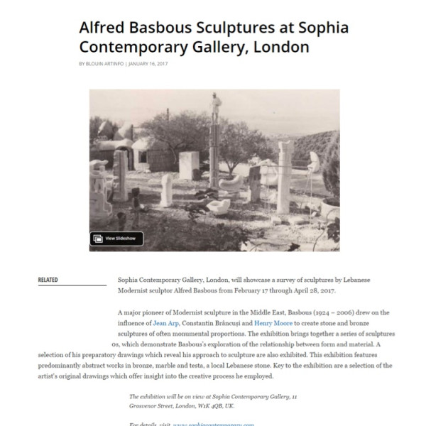 Alfred Basbous Sculptures at Sophia Contemporary Gallery, London