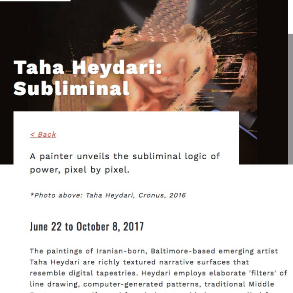 Taha Heydari - Subliminal @ SECCA (South Eastern Centre for Contemporary Art) (JUNE 22 TO OCTOBER 8 2017)