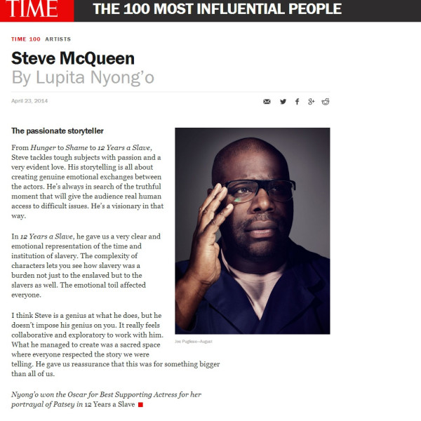 Steve McQueen: TIME Magazine's 100 Most Influential People