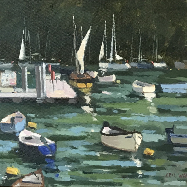 Eric Ward (b.1945) - Sailing Boats by the Jetty