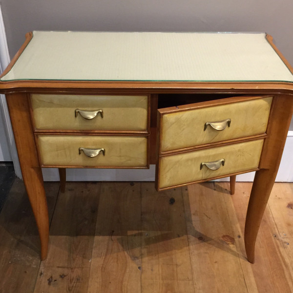 Paolo Buffa - A Pair of Italian Vellum and Fruitwood Cabinets circa 1940 Each with a cupboard and two small drawers, the tops lined in fabric under glazed covers, circa 1940