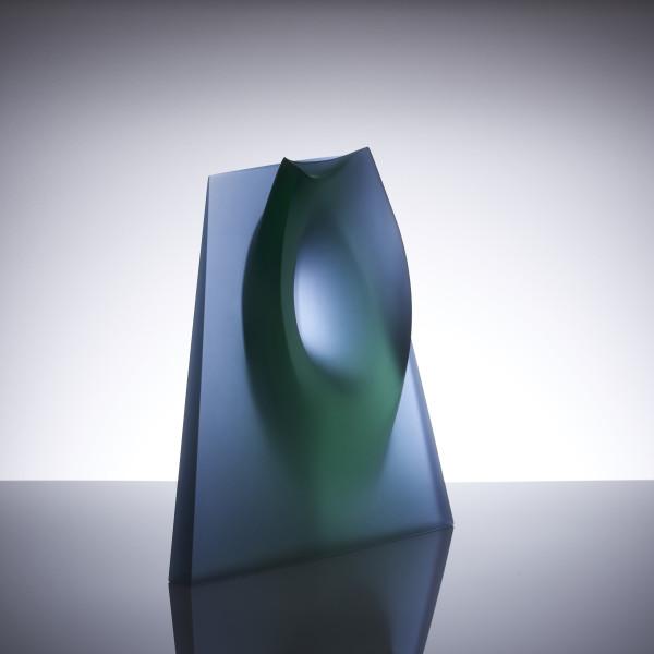 Ashraf Hanna - Green blue vessel form, 2016