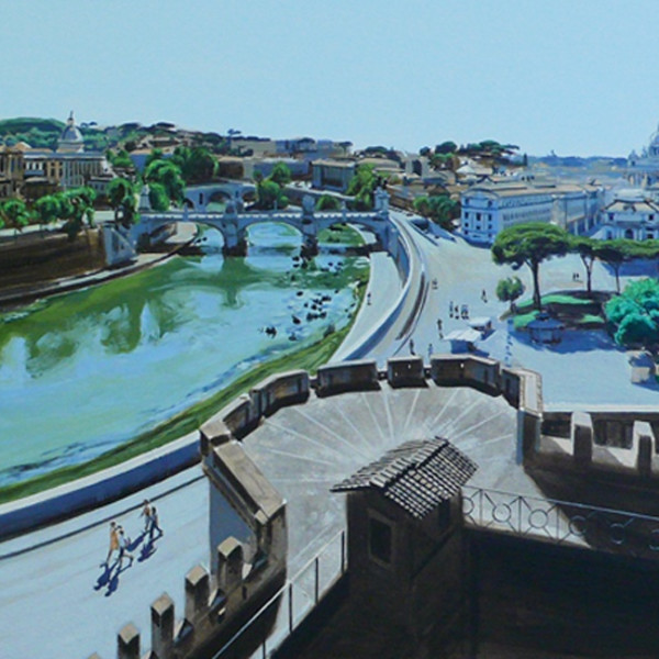 David Wheeler - Tiberis Quo Vardis (View from Castel St Angelo overlooking the River Tiber Rome) Study, 2009