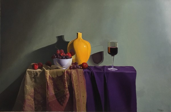 Robert Walker, Mustard Vase, Grapes and Wine, In Hong Kong
