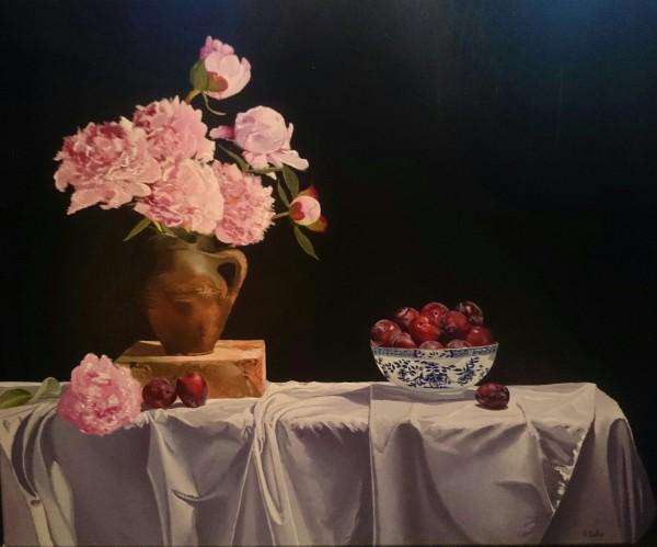 Robert Walker, Peonies and Chinese Bowl