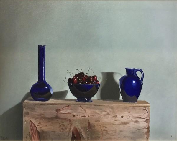 Robert Walker, Blue Vase with Cherries