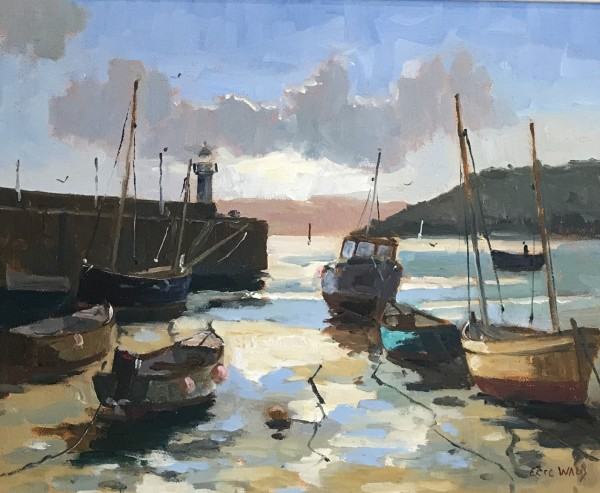 Eric Ward (b.1945), Cornish harbour at low tide