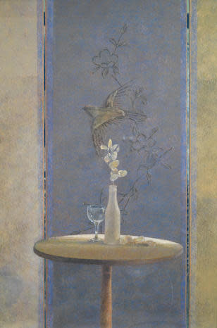 David Tindle RA, Table and embossed Chinese Screen
