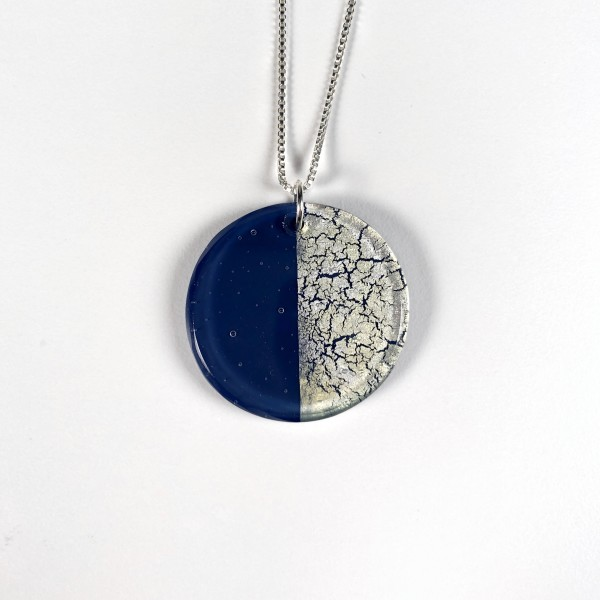 Geometric Glass Circle Pendant Necklace - Blue + Silver