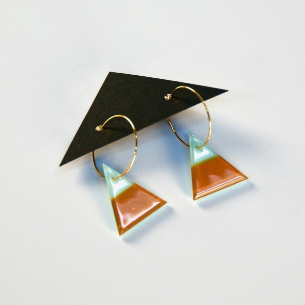 Geometric Glass Triangle Hoop Earrings - Robin's Egg Blue + Gold