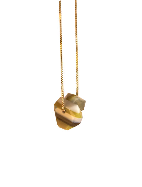 Banded Strattite Pendant Necklace