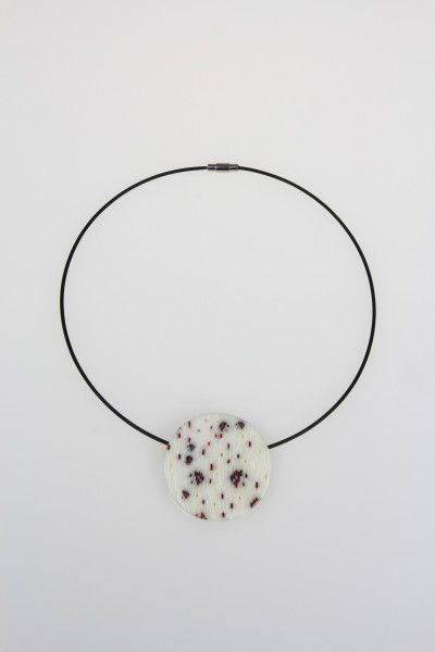 Red Dots and Slashes Circle Pendant