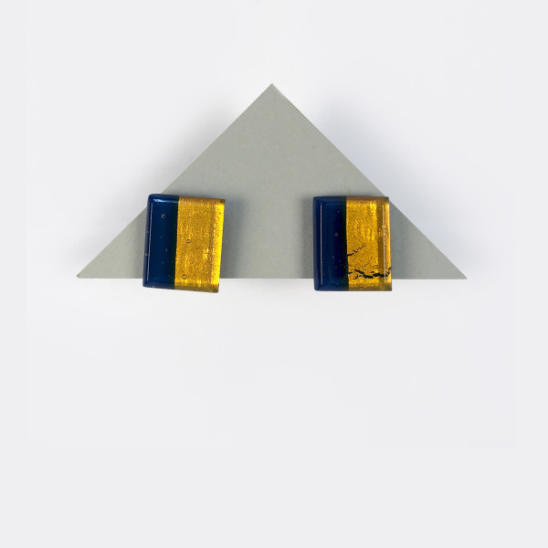 Geometric Glass Post Earrings - Blue + Gold