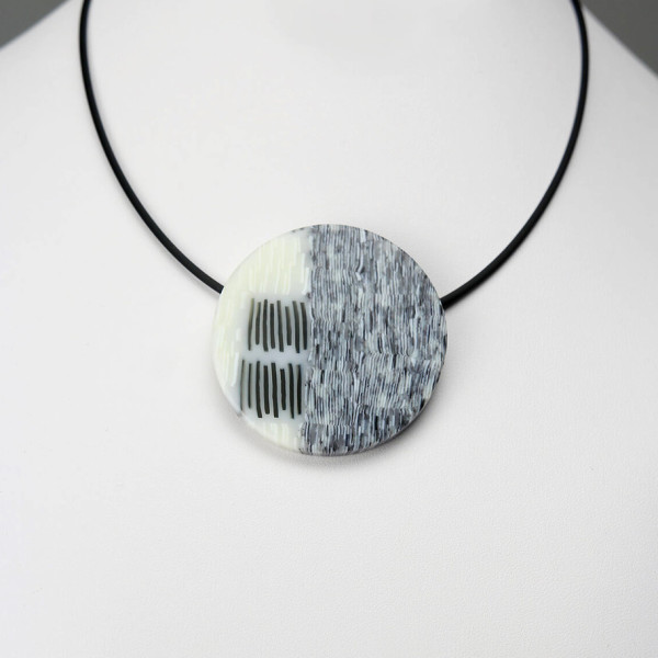 Tri Colored Circular Pendant Necklace