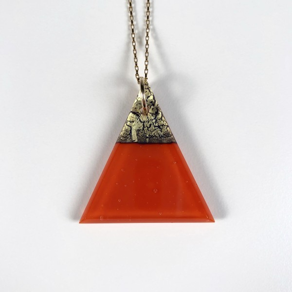 Geometric Glass Triangle Pendant Necklace - Pimento Red + Gold