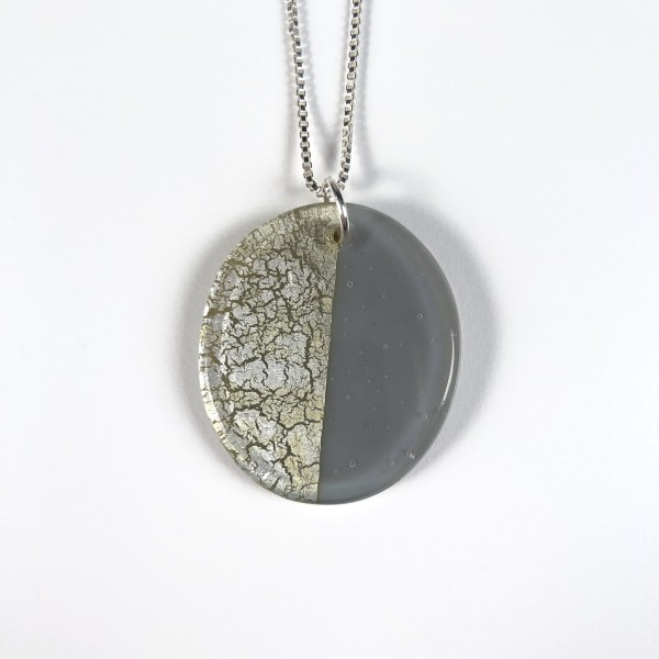 Geometric Glass Oval Pendant Necklace - Gray + Silver